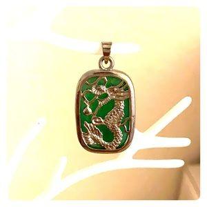 Jade dragon silver pendant